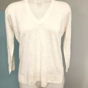 J CREW Women's Off White LINEN Blouse SMALL